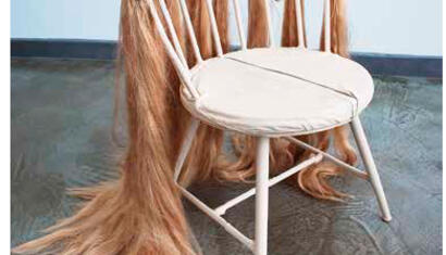 Bernadette Despujols Sad Chair, 2016 Metal, leather, synthetic hair 25 x 25 x 23 inches